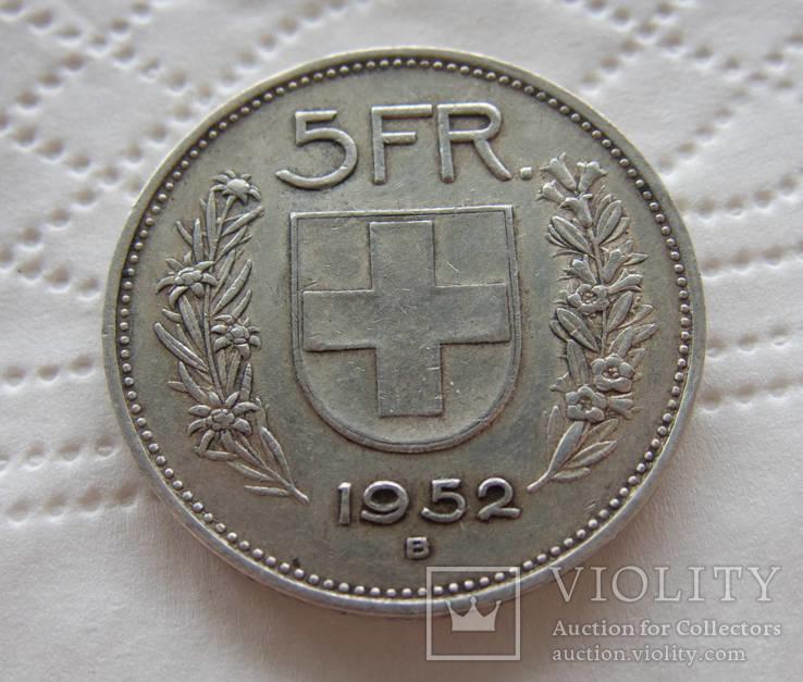 Швейцария 5 франков 1952 самая редкая тираж 155 тыс