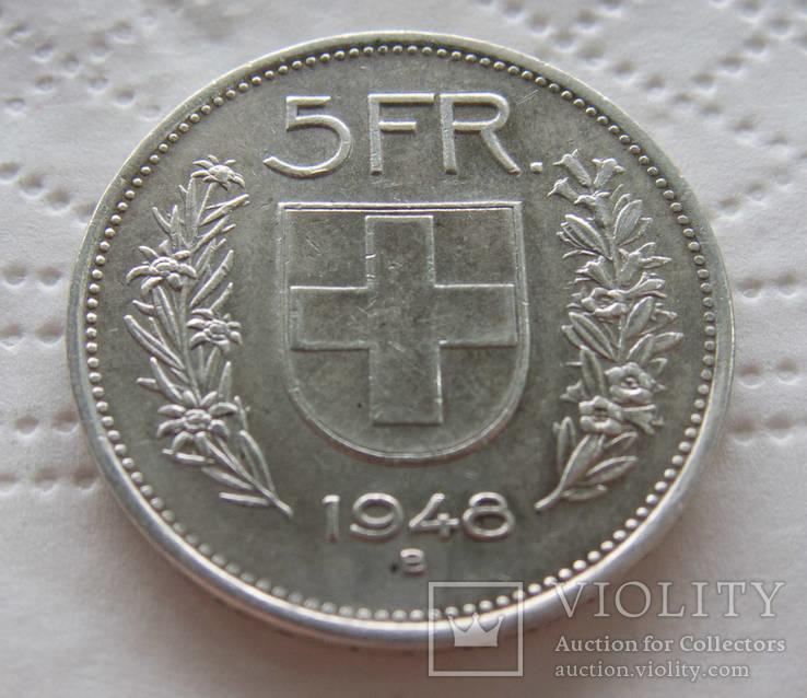 Швейцария 5 франков 1948 тираж всего 416 000