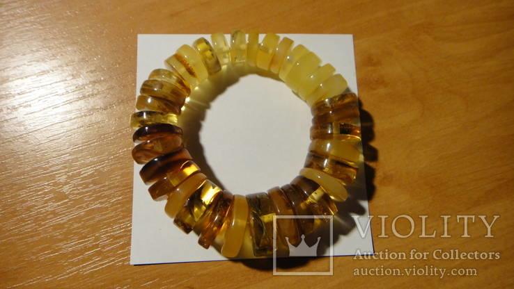 Браслет натуральный янтарь 38 грамм
