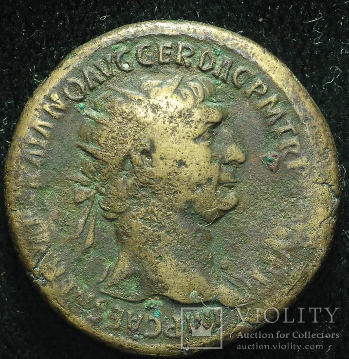 Рим дупондий Траян 107 год Дакия трофеи S P Q R OPTIMO - PRINCIPI SC.