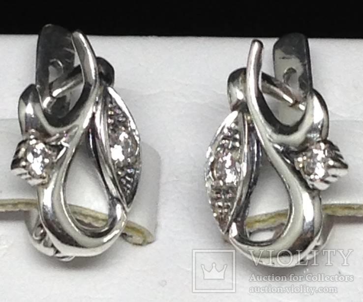 Кольцо, серьги, цирконы, фото №4