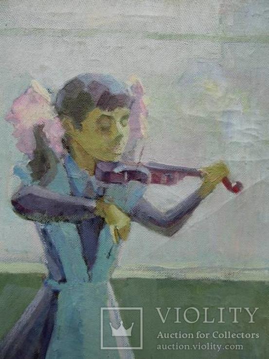 "Картина Шкуропат А. ""Юная скрипачка""1987 г., фото №3"