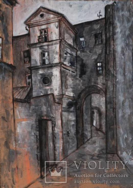"""Картина """"Двор"""", масло, 84х60см"""