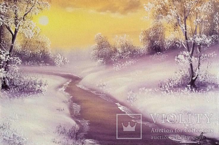 Картина Покрывало зимы, 20х30 см. живопись на холсте, с подписью автора