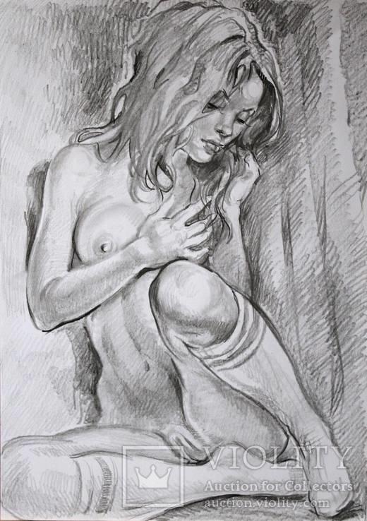 Рисунок Ню - обнаженная девушка - карандаш - А3