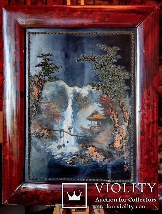 """Подписная Японская старинная Картина на дереве.<span class=""""</div""""></span>"""