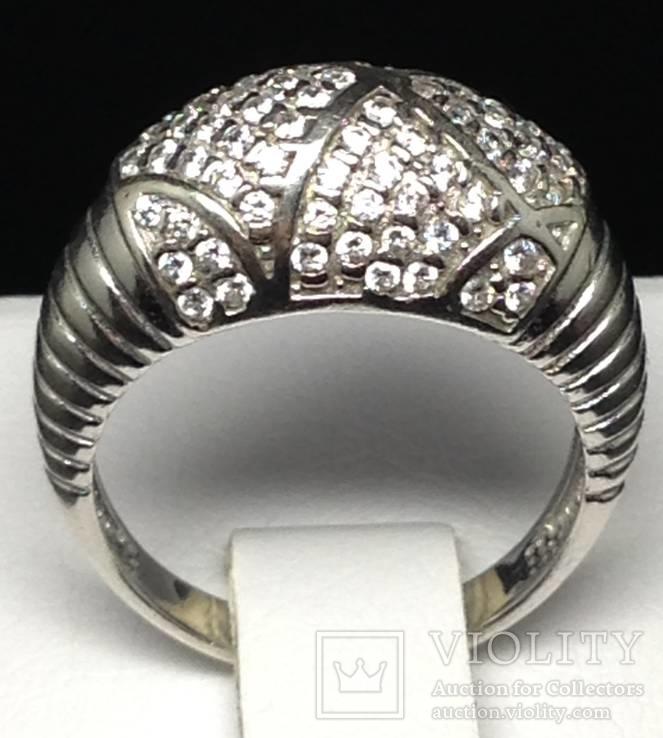Кольцо, цирконы, фото №6