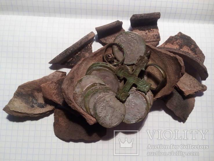 Клад пражские гроши 47 шт. и прочие артефакты