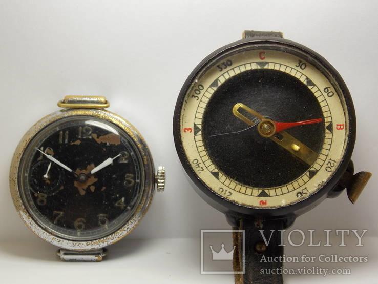 Комплект разведчика часы Кировские 1940 г + компас