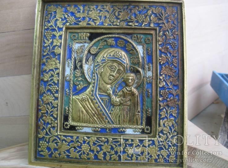 Бронзовая икона Казанской Богоматери,середина 19 века,мастер Игнат Тимофеев