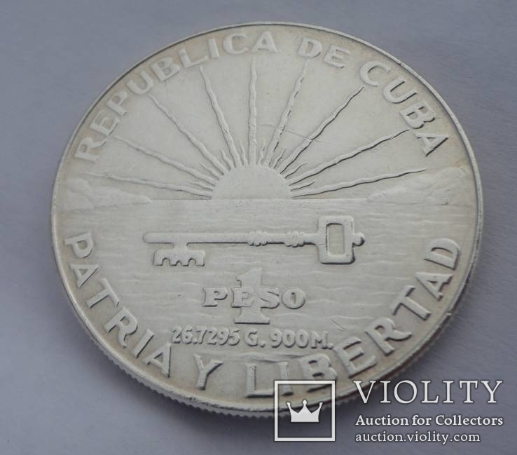 1 Песо Куба 1953г. Серебро 900 пробы 26.7 грамма