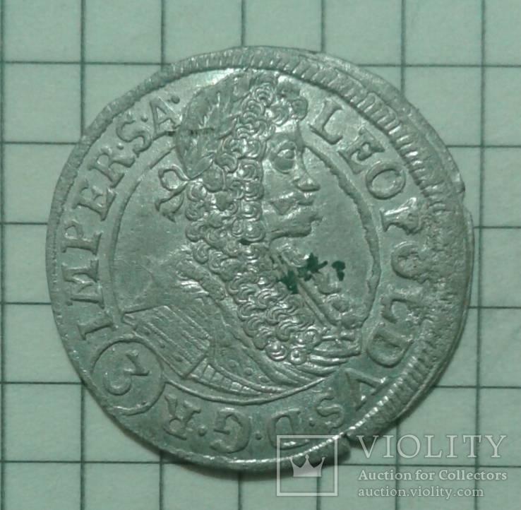 3 крейцери Леопольда 1696р. Богемія.