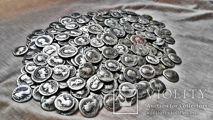 Коллекция Римских Антонианов, Денариев, Силикв 350 штук, 936 гр. Часть кладовых
