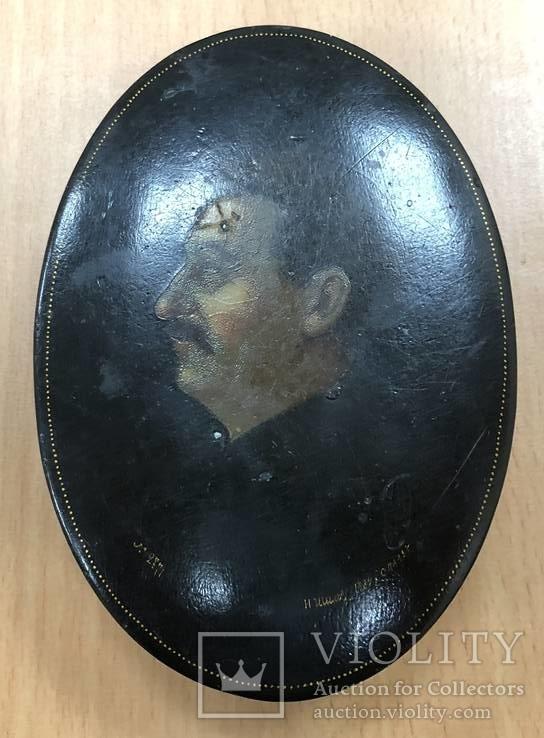 Авторская шкатулка 1934 года с изображением Сталина. Шилов №2771. Дерево.