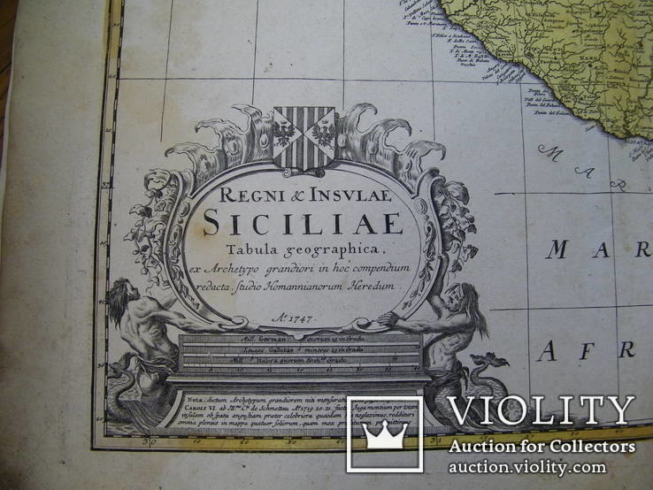Карта Сицилия 1747 год Оригинал