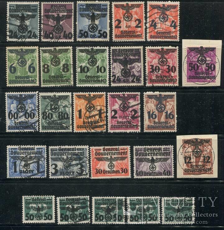 1940  Рейх генералгубернаторство  полная серия орлы свастика надпечатки
