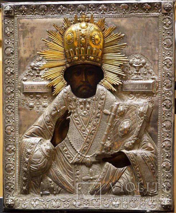 Икона Святого Николая Чудотворца в серебряном окладе (32*26 см. )