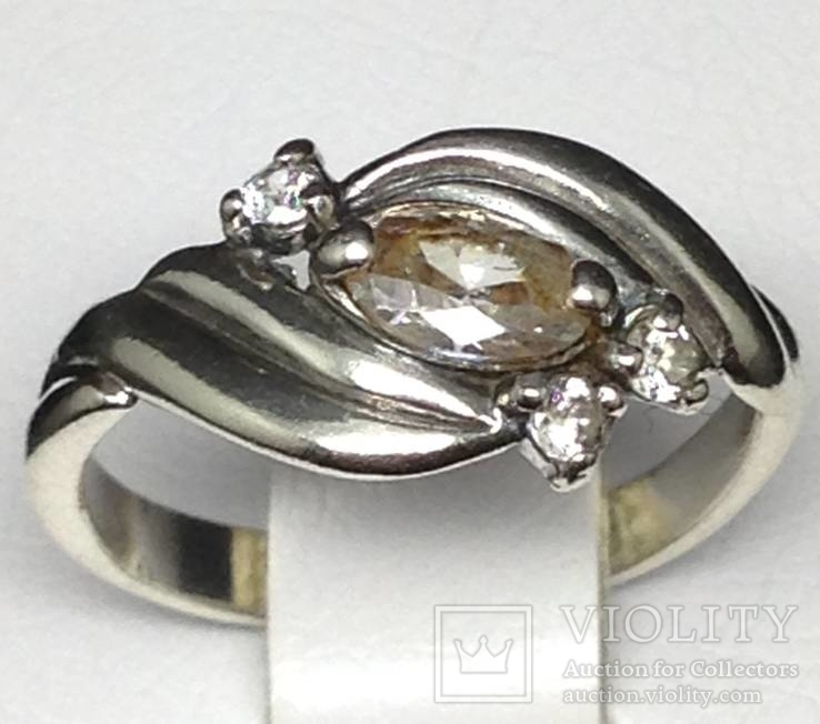 Кольцо, цирконы, фото №4