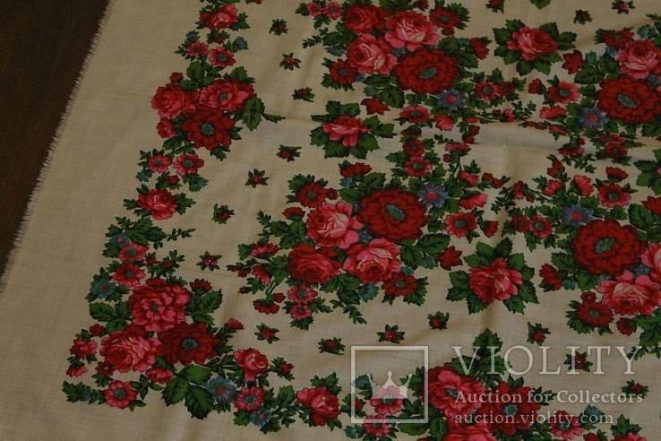 Шерстяной старинный платок №112, фото №4