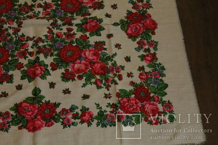 Шерстяной старинный платок №112, фото №5
