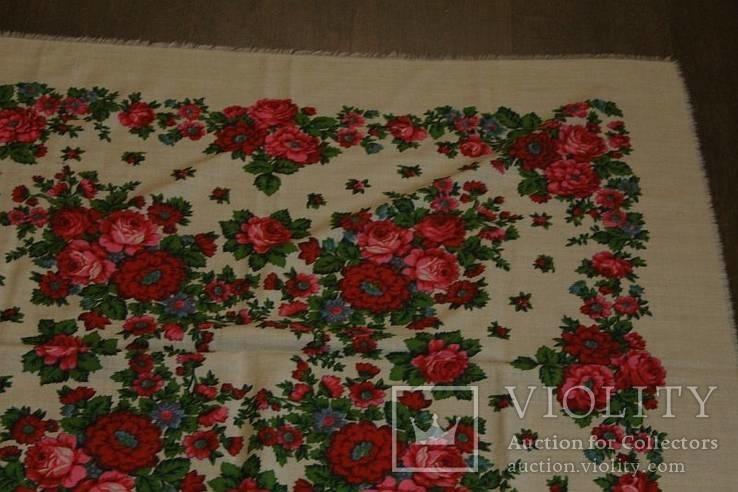 Шерстяной старинный платок №112, фото №6