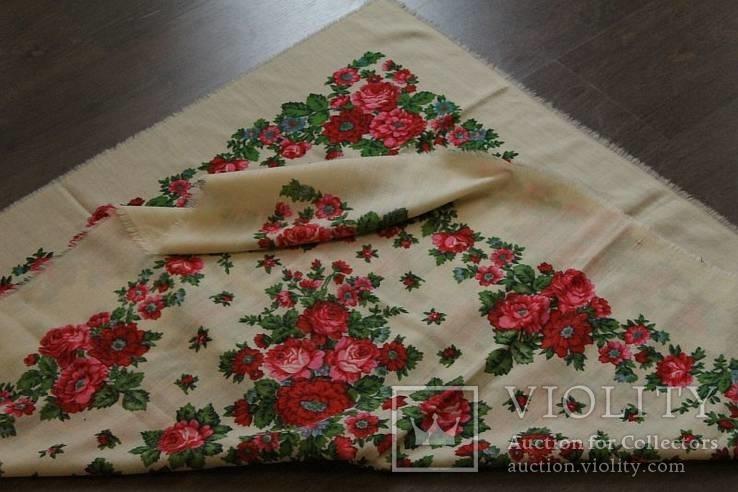 Шерстяной старинный платок №112, фото №8