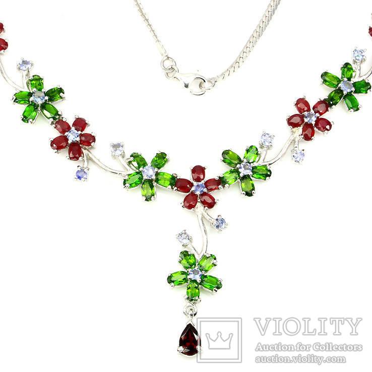 Ожерелье с танзанитами,хромдиопсидами , рубинами и родрлитом, фото №3