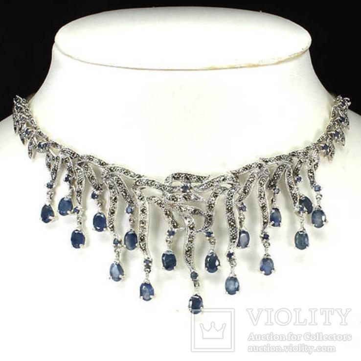 Ожерелье из натуральных сапфиров и марказитов, фото №2
