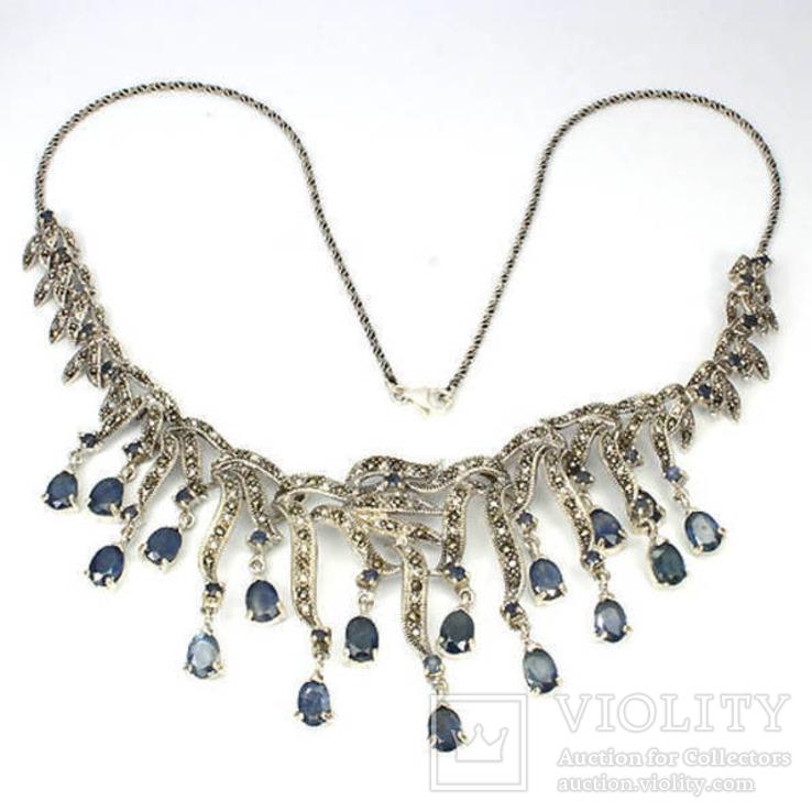 Ожерелье из натуральных сапфиров и марказитов, фото №3