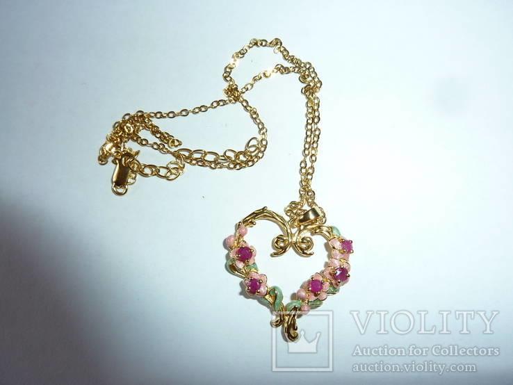 Ожерелье с эмалью и натуральными камнями