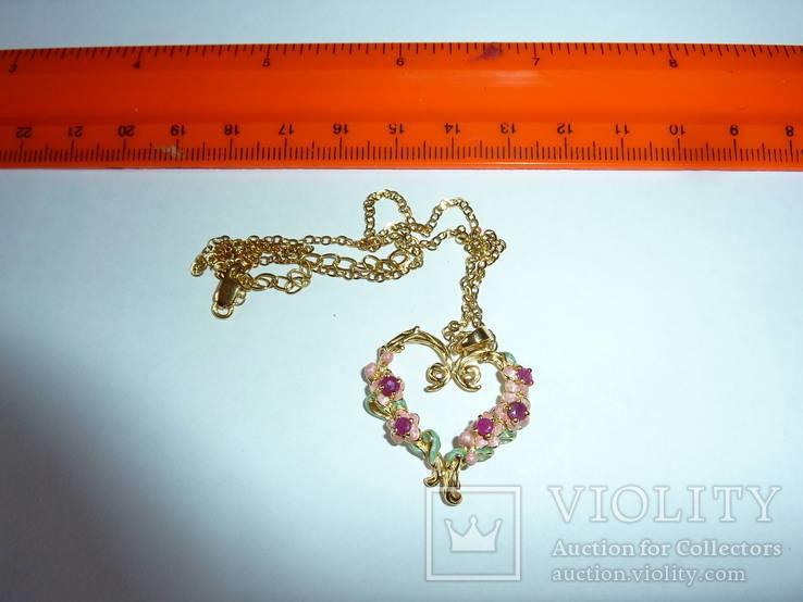 Ожерелье с эмалью и натуральными камнями, фото №3