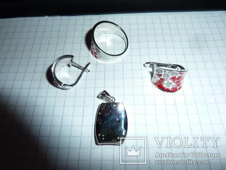 Гарнитур с цветной эмалью и белыми топазами, фото №3