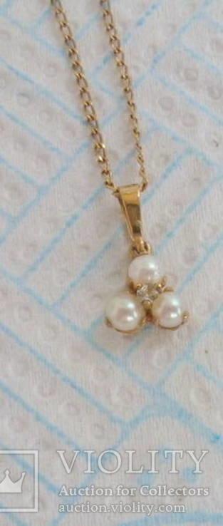 Золотое ожерелье с жемчугом и бриллиантом, фото №3