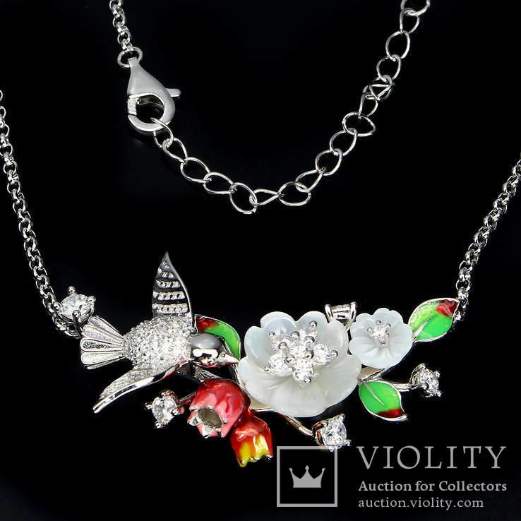 Ожерелье с натуральным перламутром, эмалью и белыми топазами, фото №4