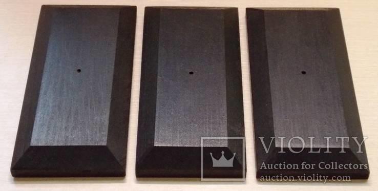 3 шт Подставка для моделей авто масштабом 1:43 Цвет Черный. Материал дерево