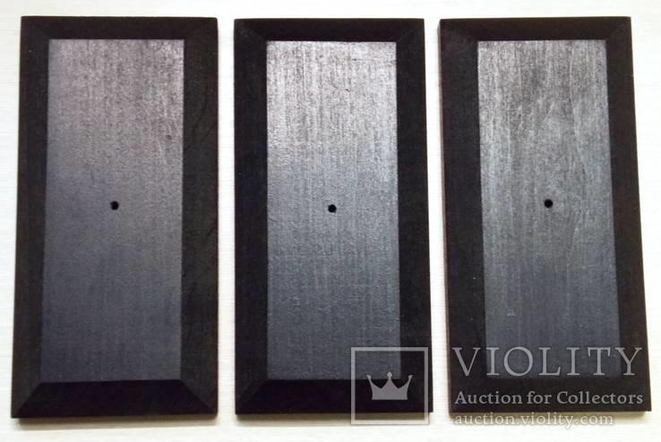 3 шт Подставка для моделей авто масштабом 1:43 Цвет Черный. Материал дерево, фото №3