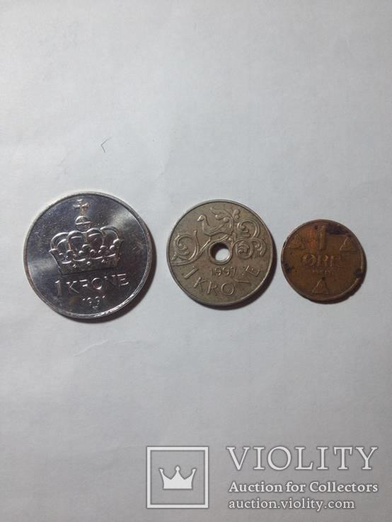 Три монеты Норвегии(1крона 1991,1крона 1997,1 оре1914.), фото №3