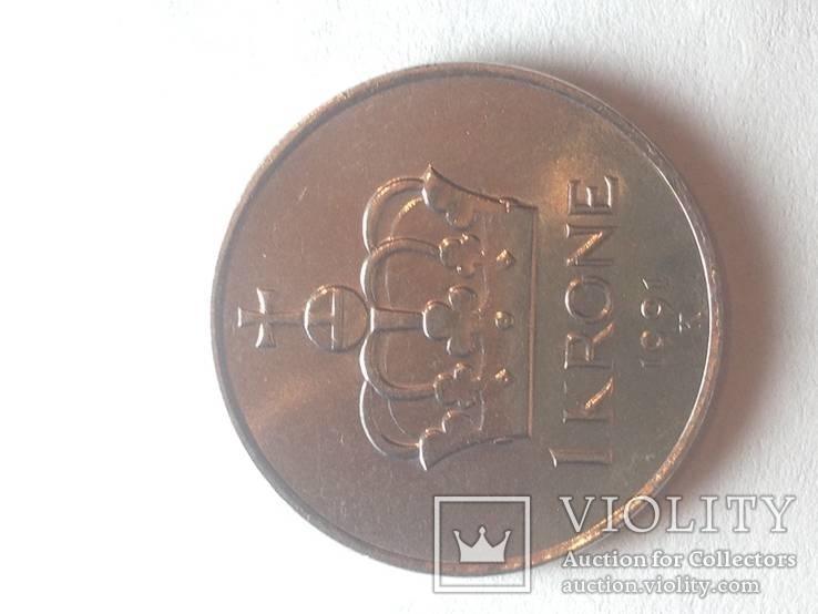 Три монеты Норвегии(1крона 1991,1крона 1997,1 оре1914.), фото №5