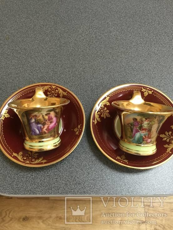 Парные кофейные чашки. Австрия. Ручная роспись., фото №2