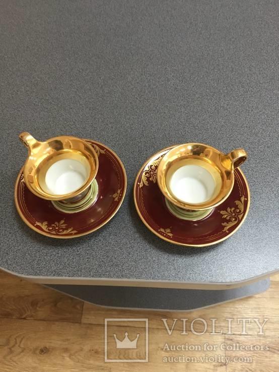 Парные кофейные чашки. Австрия. Ручная роспись., фото №3