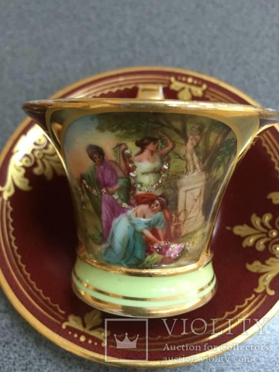 Парные кофейные чашки. Австрия. Ручная роспись., фото №5