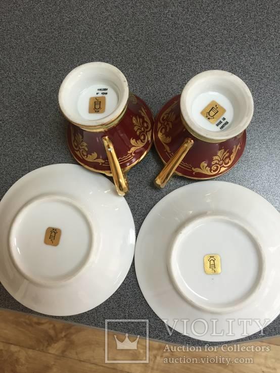 Парные кофейные чашки. Австрия. Ручная роспись., фото №6