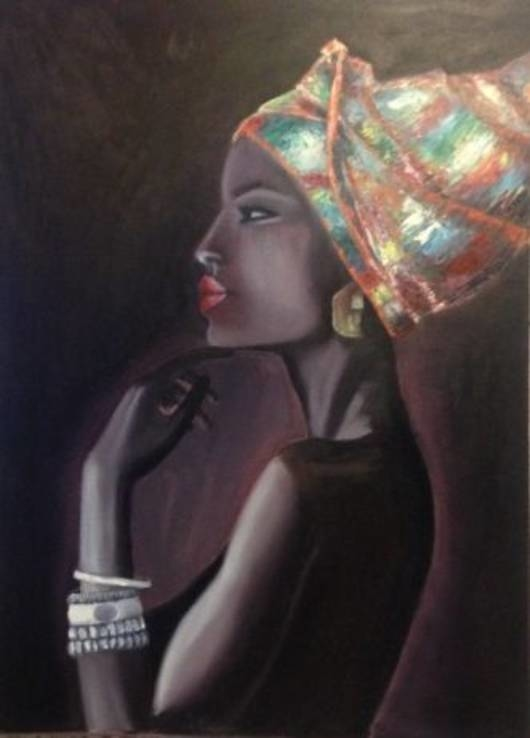 Porter of the African woman in ethnic style, canvas, size: H-70 W- 50