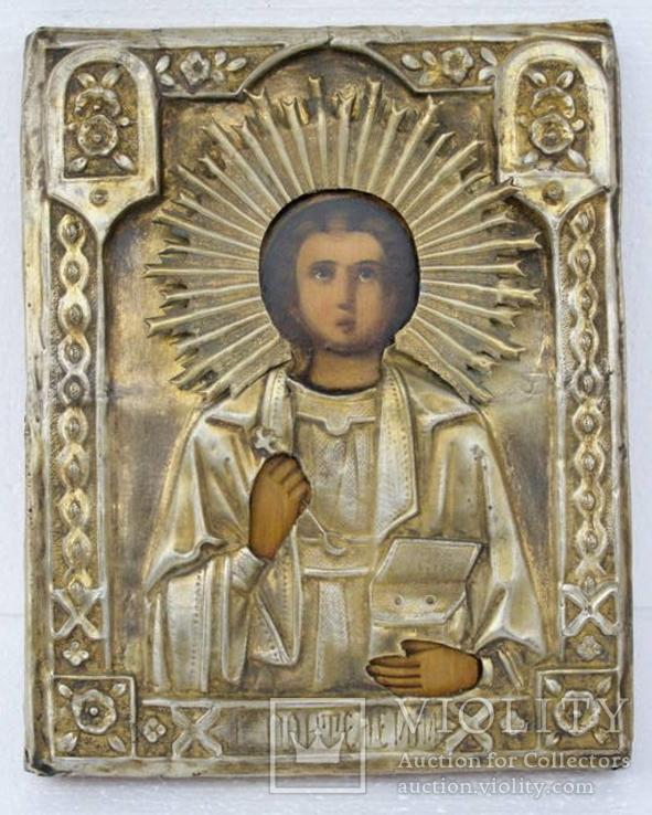 Икона св. Пантелеймона в окладе