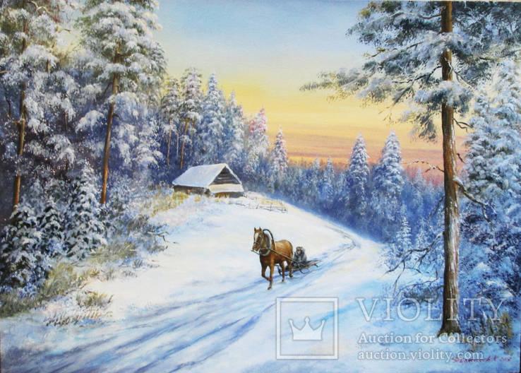 Зимний пейзаж 50х70 см Перевыставление