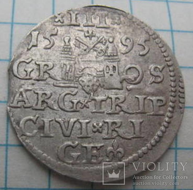 Трояк 1595 года Рига Сигизмунд III Ваза