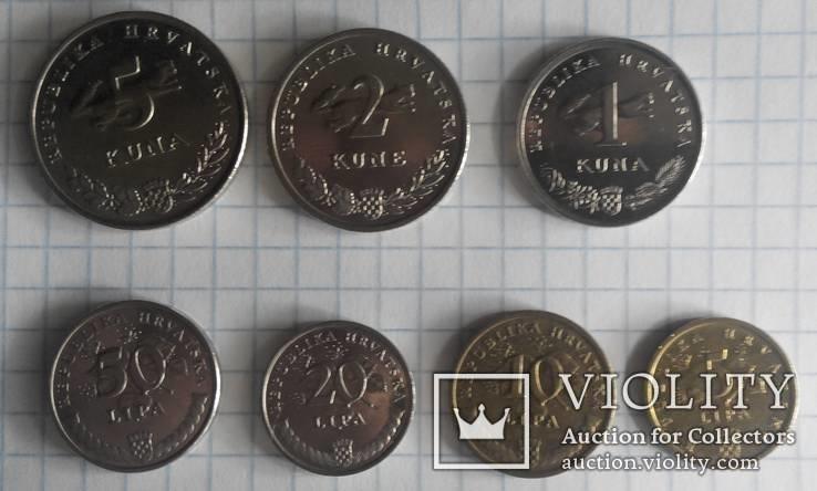 Хорватія - Підборка монет: 5, 2, 1 куна, 50, 20, 10, 5 липа, фото №3
