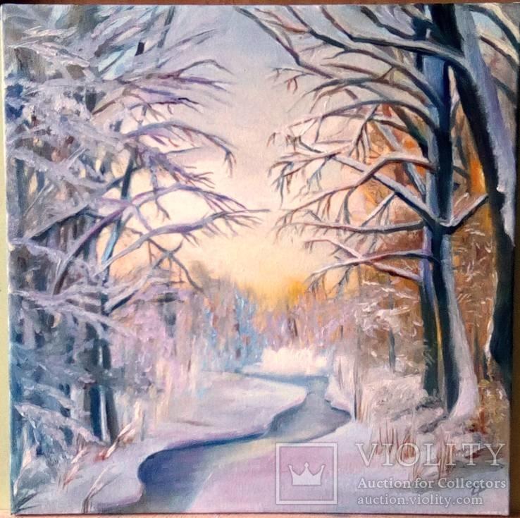 Зимний пейзаж, 30х30 см. масло.