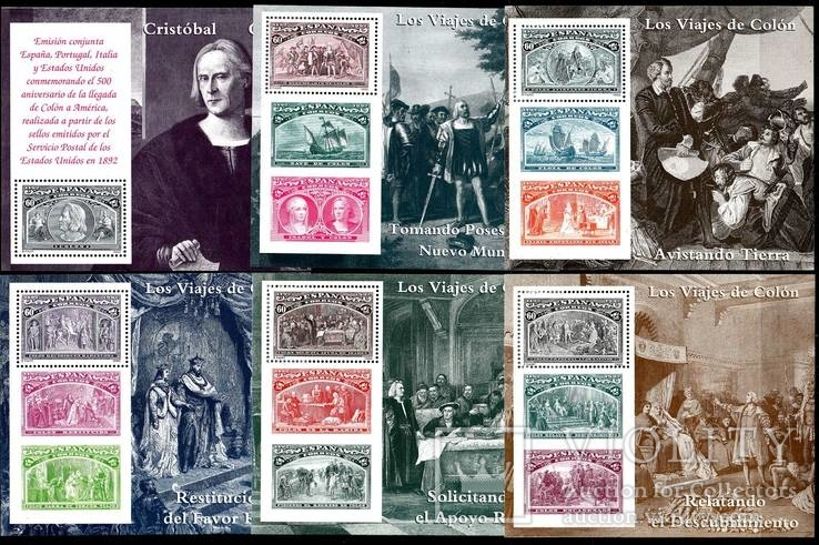 Испания 1992 500 лет открытия Америки полный комплект блоков MNH **