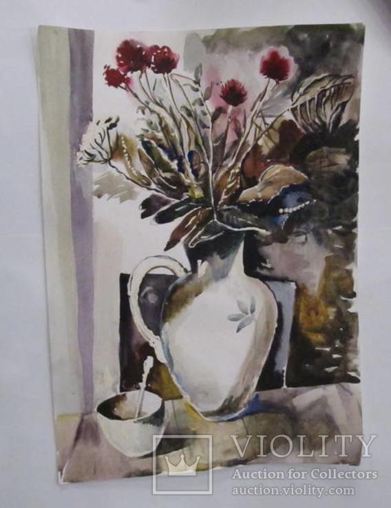 Натюрморт с цветами 42х29см. Акварель, бумага. 2008